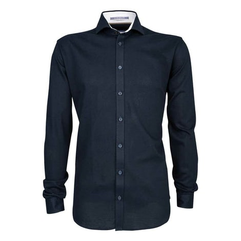 Donkerblauw tricot slim fit overhemd 3100270-190-220-590