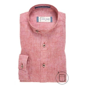 Red linen/cotton slim fit casual shirt 3100335-470-190-000