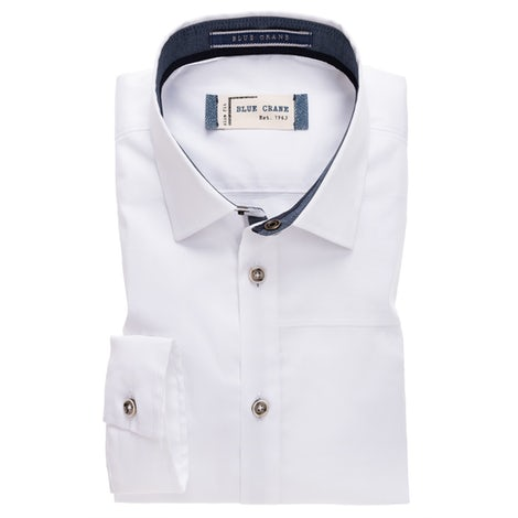 White stretch slim fit shirt 3100341-910-180-180