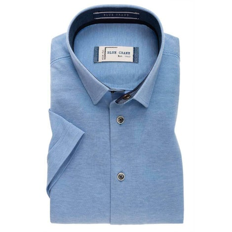 Light blue tricot slim fit casual shirt with short sleeves 3100345-120-180-180