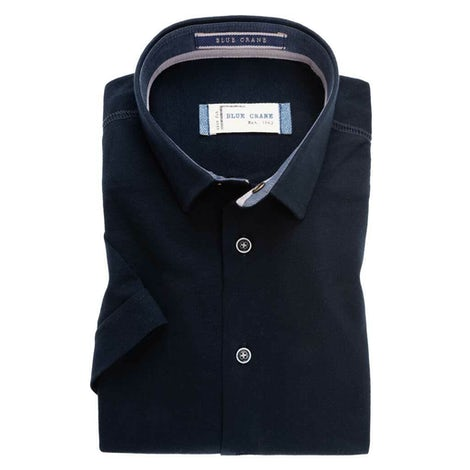 Dark blue tricot slim fit casual shirt with short sleeves 3100345-190-180-250