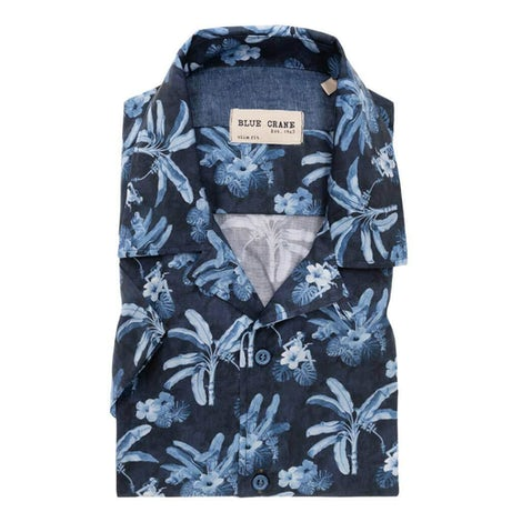 Dark blue print slim fit casual shirt with short sleeves 3100500-170-170-000