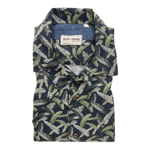 Dark blue/green print slim fit casual shirt with short sleeves 3100546-170-170-000