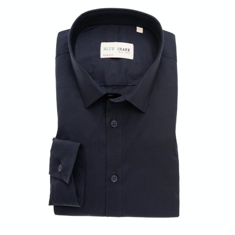Dark blue organic cotton slim fit shirt 3100670-190-000-000