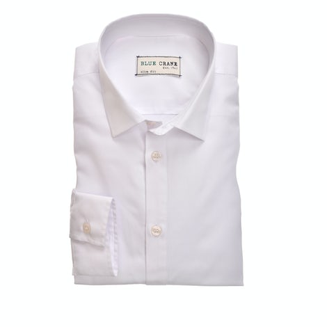 White cotton/bamboo slim fit shirt 3100784-910-000-000