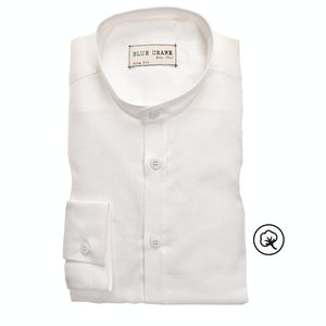 White bio cotton slim fit casual shirt 3100797-910-910-000
