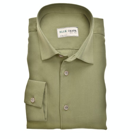 Green lyocell slim fit casual shirt. 3100804-520-520-000