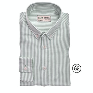 Green/white striped organic cotton slim fit casual shirt 3100863-540-540-000